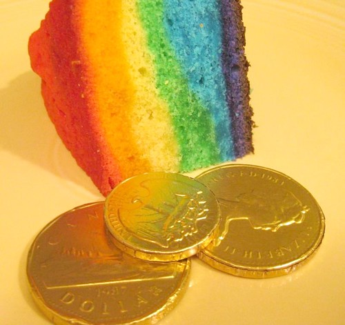 gold at the end of the rainbow cake