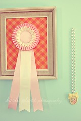 Prize Ribbon and Necklace (the gnome hut) Tags: pink cute vintage studio necklace spring friend pretty handmade skipper award charm retro gingham gifts kawaii lovely showribbon