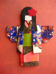 Japanese Chiyogami Paper Doll - Masami (umeorigami) Tags: japan japanese origami doll handmade craft geisha yukata kimono folded paperdoll papercraft washi chiyogami origamidoll warabeningyo