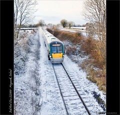 Winter Express (bbusschots) Tags: ireland winter snow train diesel rail railway railcar 1001nights maynooth hdr irishrail trainset topaz kildare dmu tonemapped tthdr iarnrdireann flickraward class22000 topazadjust dmu6