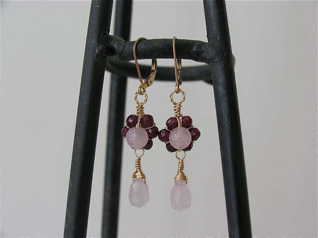 Garnet flower and Rose Quartz earrings in 14K gold filled