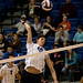 Frankie Coto goes up for a spike during the last home men's volleyball game.