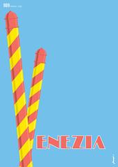 009_venezia (Jason A Jeffery) Tags: world travel blue venice red sky italy water yellow poster postcard poles venezia bollards