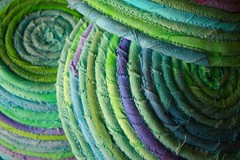 Three Upturned Fabric Bowls (jillyspoon) Tags: green 3d purple sewing blues fabric fray greens fraying bowls stitched zigzag strips concentric sewn frayed washingline handdyed flickrduel machinesewn canon450dukusers