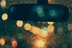 Look Ahead (DavidY.) Tags: color car rain night canon lights mirror dof view bokeh rear taiwan canoneos 550d t2i