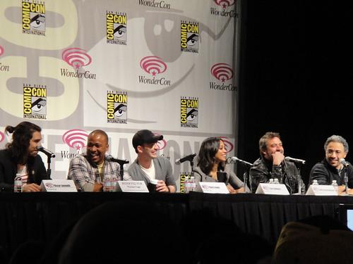 The Losers panel - Oscar Jaenada, Columbus Short, Chris Evans, Zoe Saldana, Jeffrey Dean Morgan, and director Sylvain White