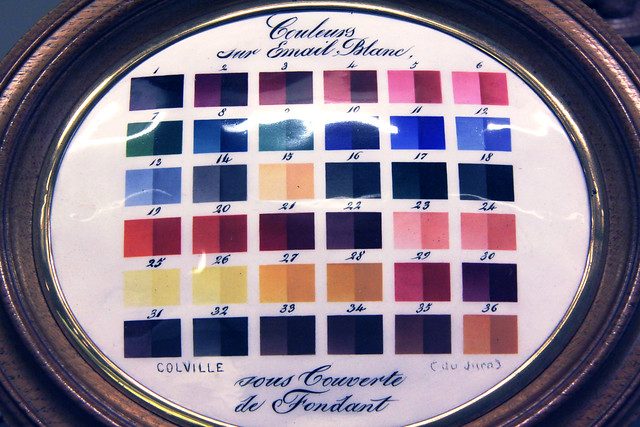 Palette of colours for porcelain by Colville, c. 1850