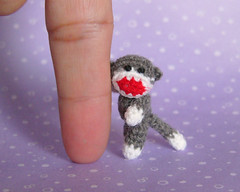 Sock Monkey (MUFFA Miniatures) Tags: cute miniature funny doll handmade oneofakind ooak crochet sockmonkey amigurumi dollhouse muffa cdhm threadminiatureanimals