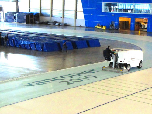 Richmond Oval post-2010 Olympics renovation - Snow machine prepares icetrack for removal