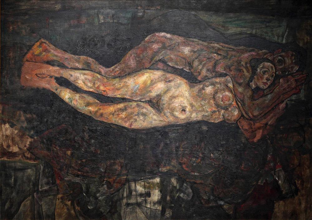 Egon Schiele, Liebespaar (unvollendet) [Lovers (unfinished)], 1918