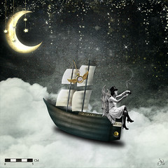 No. 9 (akaLunaMoonbeam) Tags: moon stars boat wings women absurd surreal fantasy imagination magicalmoments steampunk ourtime nicoleyoung liefhung ztampf artdigital suzeeque laurenbavin
