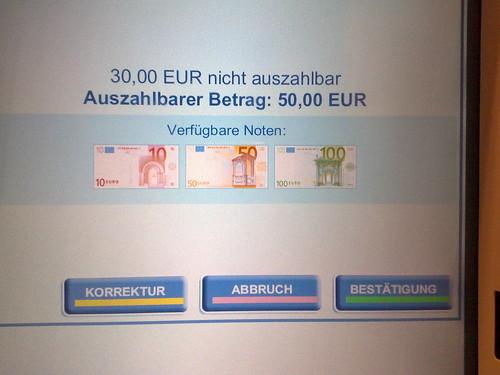 Bankomat-Fehlermeldung