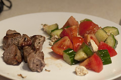 Beef Souvlaki with Greek Salad