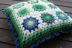 Sunburst cushion (rettgrayson) Tags: blue crochet pillow cotton sunburst organic cushion