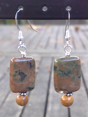 Rhyolite and tiger jasper earrings