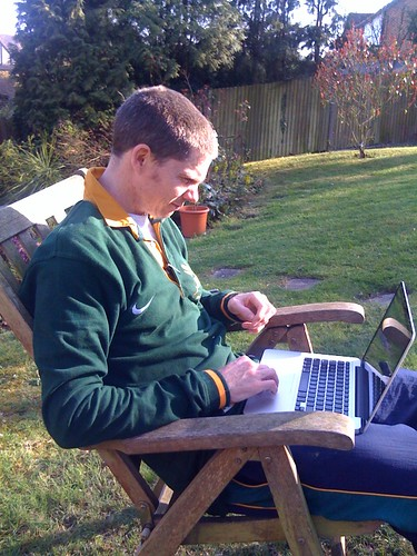 Working on assignment in the garden