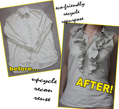 DIY ruffle shirt top tutorial by Chic Steals