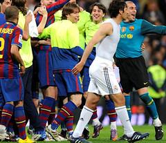 Celebración del FCB al vencer al Real Madrid C.F.