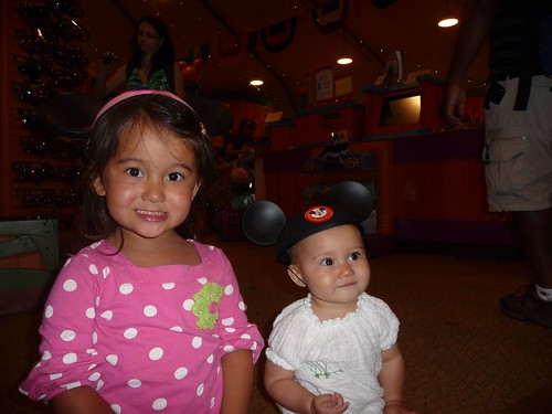 the girls with their mouse ears.