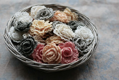 roses (namolio) Tags: pink white grey natural handmade linen brooch crochet cream crocheted brooches