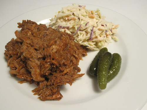 Pulled pork with cole slaw and pickles