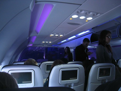 The dim purple and blue cabin lights are easy on the eyes.