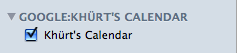 View of Google Apps calendar in iCal