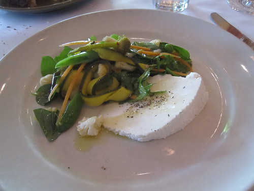 Bellwether Farm ricotta with spring vegetable salad and basil at Café Chez Panisse