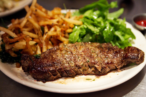 kulana striploin, roquefort butter, french fries, arugula