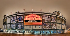 A 30 exposure impossible view of Wrigley Field, home of the Chicago Cubs (Mister Joe) Tags: panorama chicago night nikon baseball stadium large ivy joe multipleexposure cubs wrigleyfield wrigley addison stitched hdr chicagocubs wrigleyville