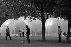 Balls to Monty (cybertect) Tags: canonef70200mmf28lisusm canoneos5d london londonse1 morelondon pottersfields se1 football inflatablebuilding bubble monochrome blackandwhite