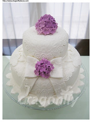 Bows and Hydrangeas Cake / Bolos com Laos e Hortnsias (Dragonfly Doces) Tags: cake lace 15 bow bolo years anos hydrangeas renda lao hortensias