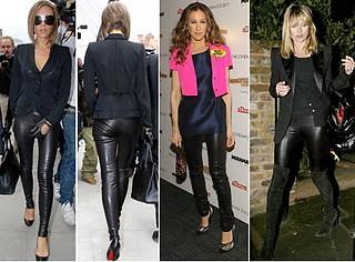 calças de couro femininas