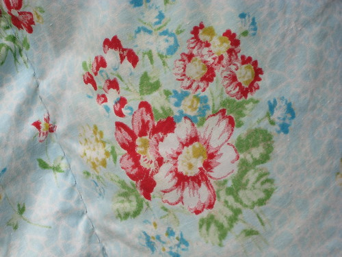 Vintage floral eiderdown close-up