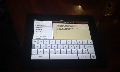 Pic: iPad keyboard surprisingly easy to type with.