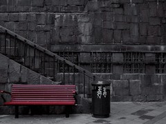 bench (iBoffe) Tags: city red urban color scale contrast trash dark bench coach iron stair basket floor grain saturation stoccolma citta stockolm desaturate ferro pavimento marciapiede