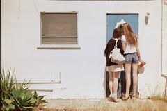 (fivefortyfive) Tags: california door girls people film window look 35mm 50mm annie 365 minoltax370 carlyn alternate yus fivefortyfive lololol day142alternate maggieannre