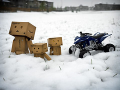 "054/365:  ""What?  It's Snowing In May!"" (Randy Santa-Ana) Tags: snow toys spring atv danbo gf1 project365 danboard minidanboard minidanbo 365daysofdanbo yamahafz450"