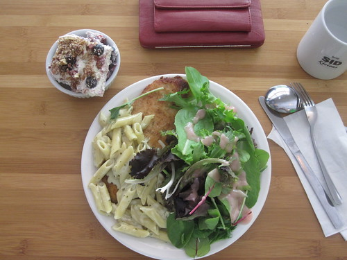 Chicken scallopine, salad, pasta, berry and cream cake from the bistro - $6