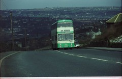 Meltham Bus late 1970s (Barrytaxi) Tags: door point dual heights daimler fleetline huddersfield timing 4141 gvh141l