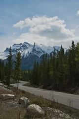 The road to Lake Minnewanka (jmschrei) Tags: road mountains clouds rockies pinetrees banffnationalpark