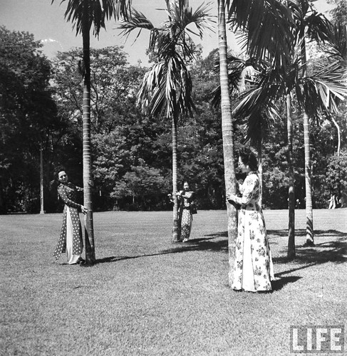 Saigon 1948 - Annamite ladies walking among the palms.