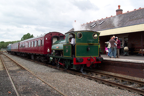 Steam Loco at small private railway station