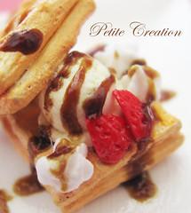 Vanilla Ice Cream and Strawberries Waffle - 1/12th Scale Dollhouse Miniature