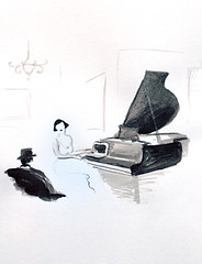 Mac on Piano (Dina Argov) Tags: woman white man black art illustration ink mac image drawing laptop piano dina bezalel        argov
