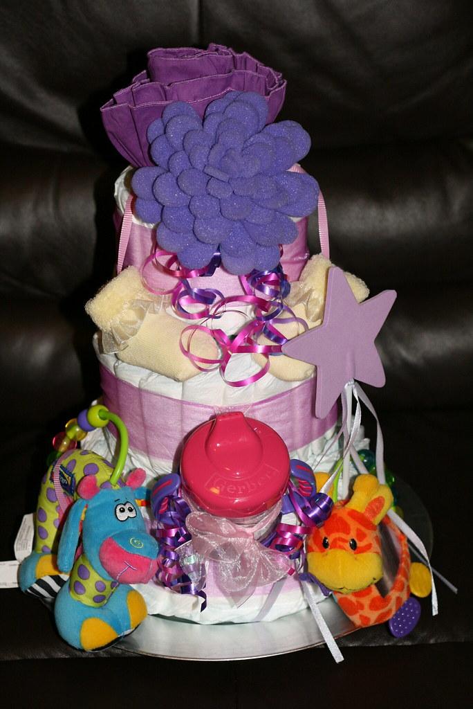 Purpley-Pink Diaper Cake