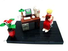 mocbureau (nabeule1) Tags: plant flower lamp computer office chair women lego desk contest vignette snot moc