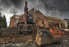 Back Hoe 2 - HDR (David Gn Photography) Tags: roof house landscape realestate lot machinery land suburbs framing backhoe hdr stormysky plywood lumber buliding subdivision homeconstruction excavating 5xp canoneos7d sigma1020mmf35exdchsm