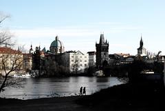 Praha_Prague (Jim Damalis) Tags: trip travel bridge boy bw woman white black tree water birds river nikon couple europe republic czech prague pair praha d40x flickraward e2youphotographylevel1