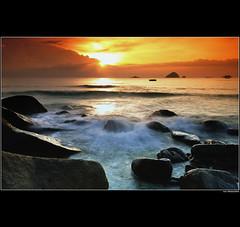 Let me enjoy this moment (amlbuton) Tags: sunset sea sky seascape nature water nikon rocks tokina malaysia yourwonderland nikond300s naturallynature